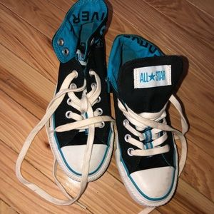 Teal & black high low converse